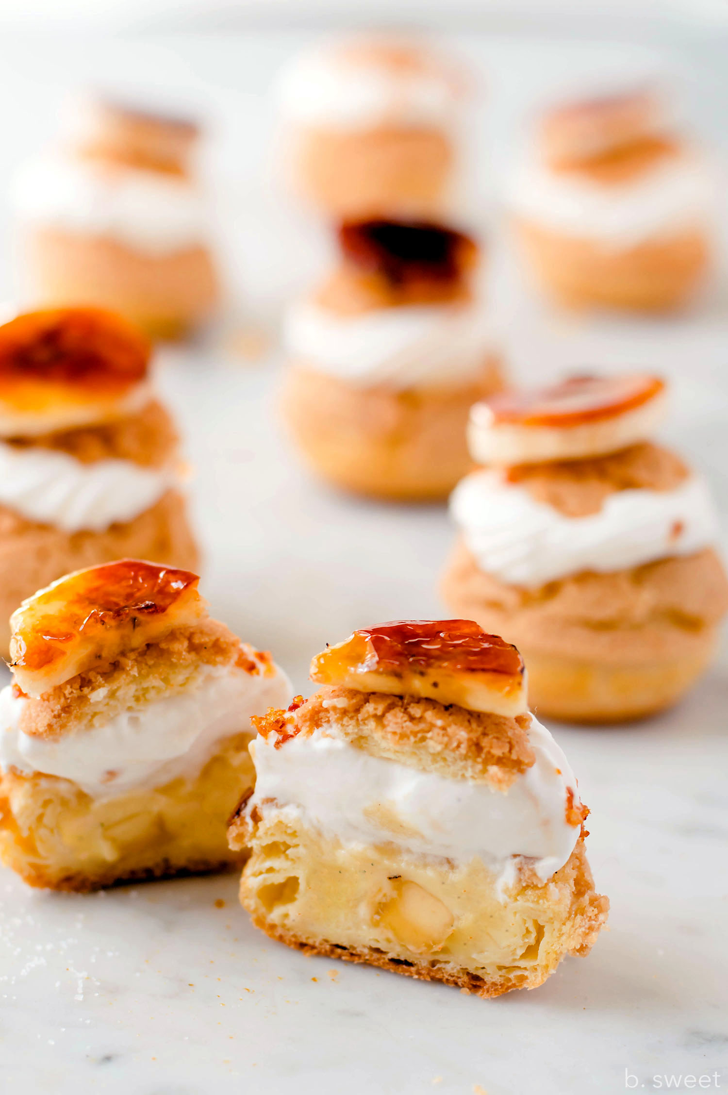 Burnt Sugar Banana Cream Puffs - b. sweet