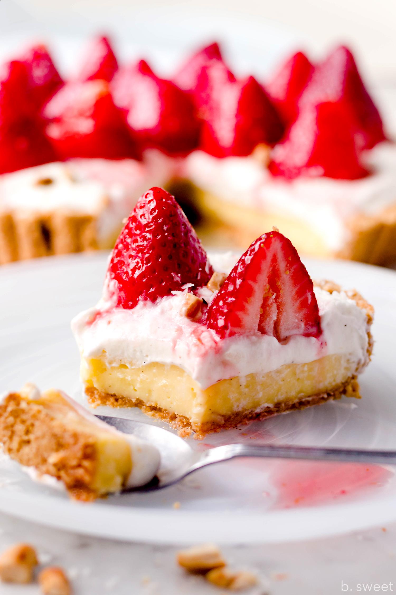 Strawberry Coconut Cashew Tart - b. sweet