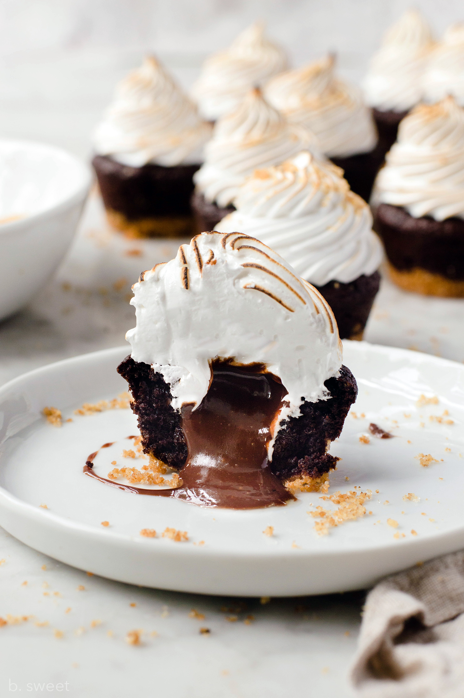 Molten S'mores Brownie Bites - b. sweet