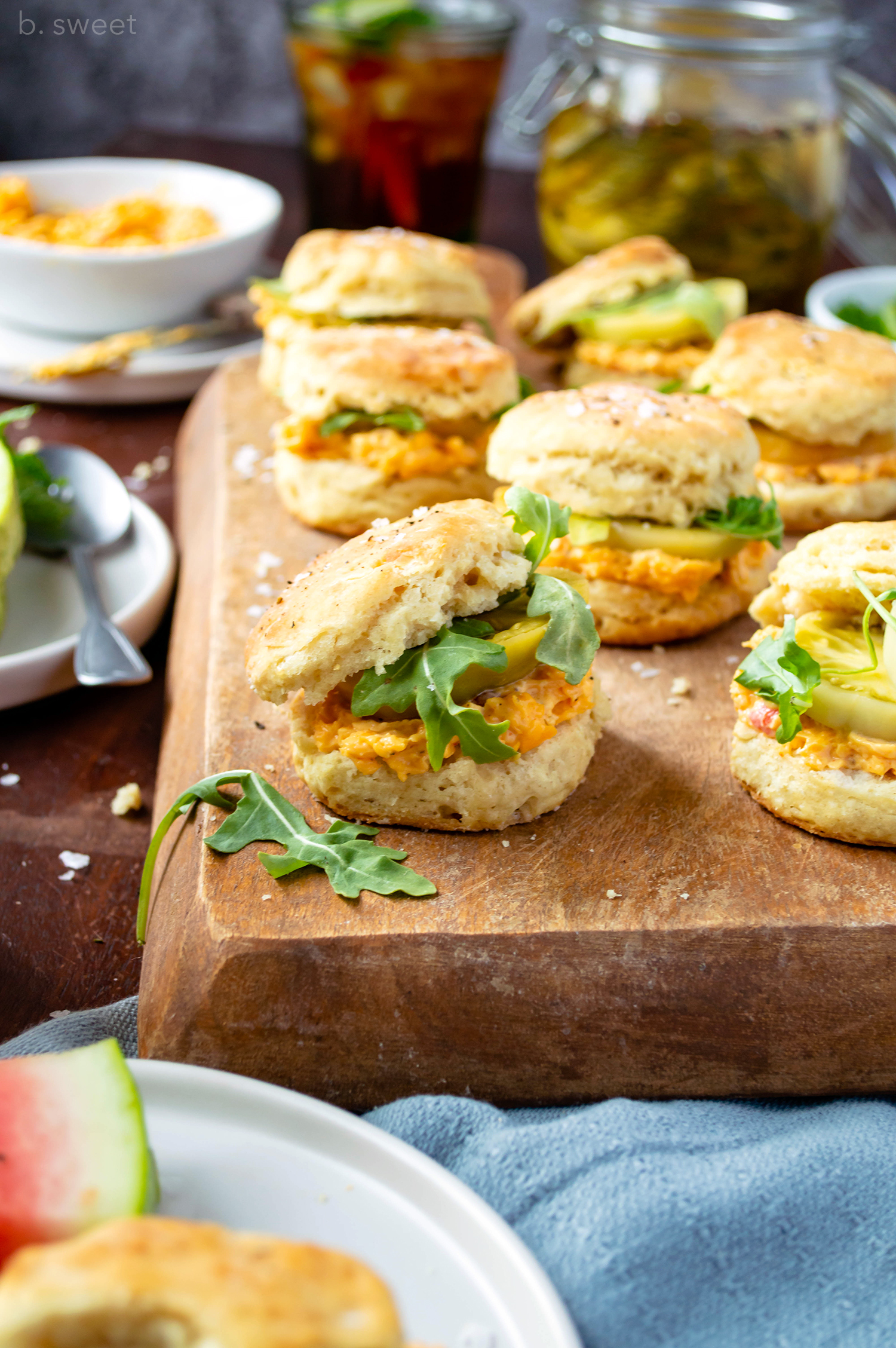 Buttermilk Biscuits with Pimento Cheese and Pickle Green Tomatoes - b.sweet