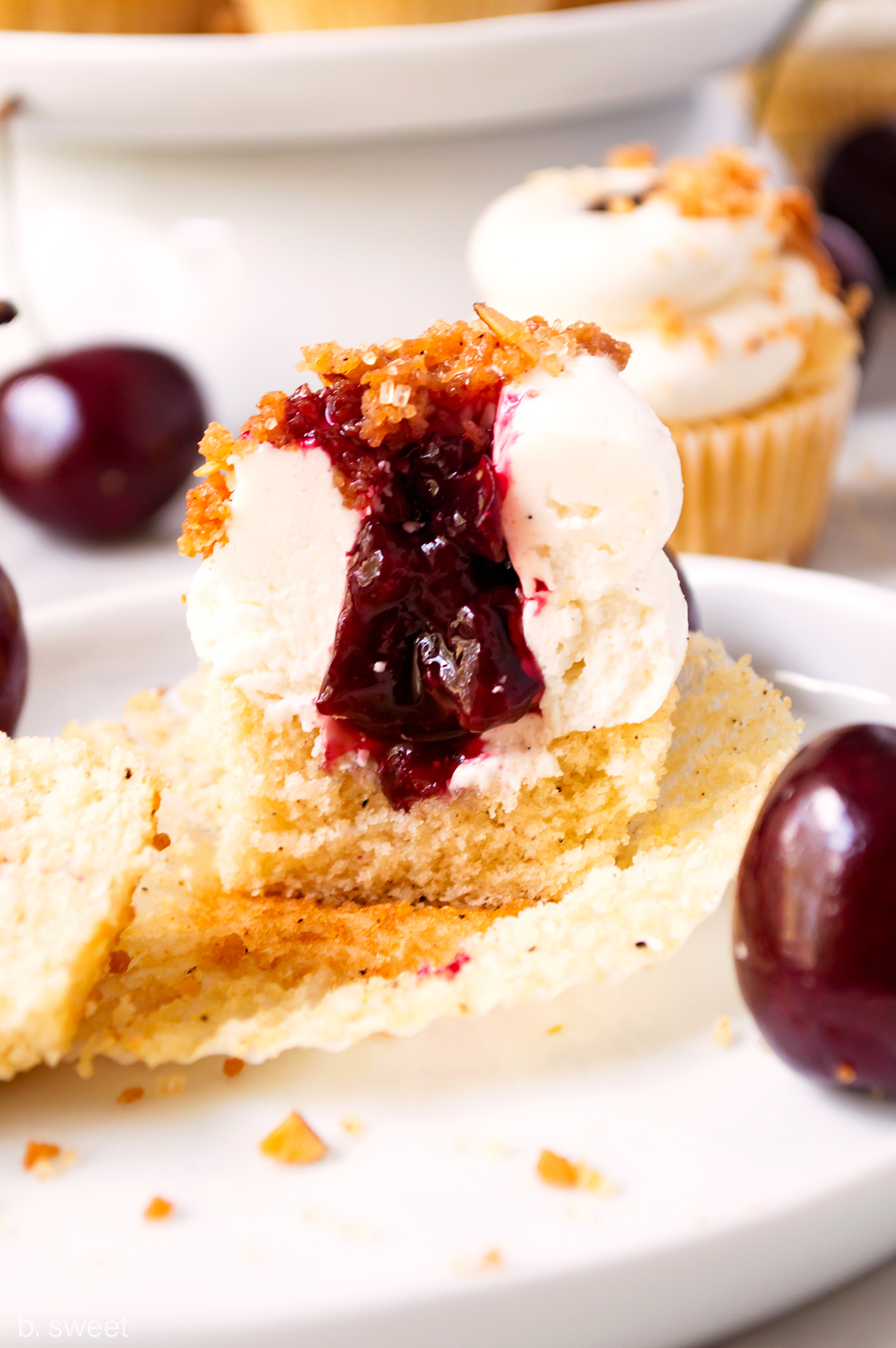 Mini Brown Butter Sweet Cherry Pie Cupcakes - b. sweet