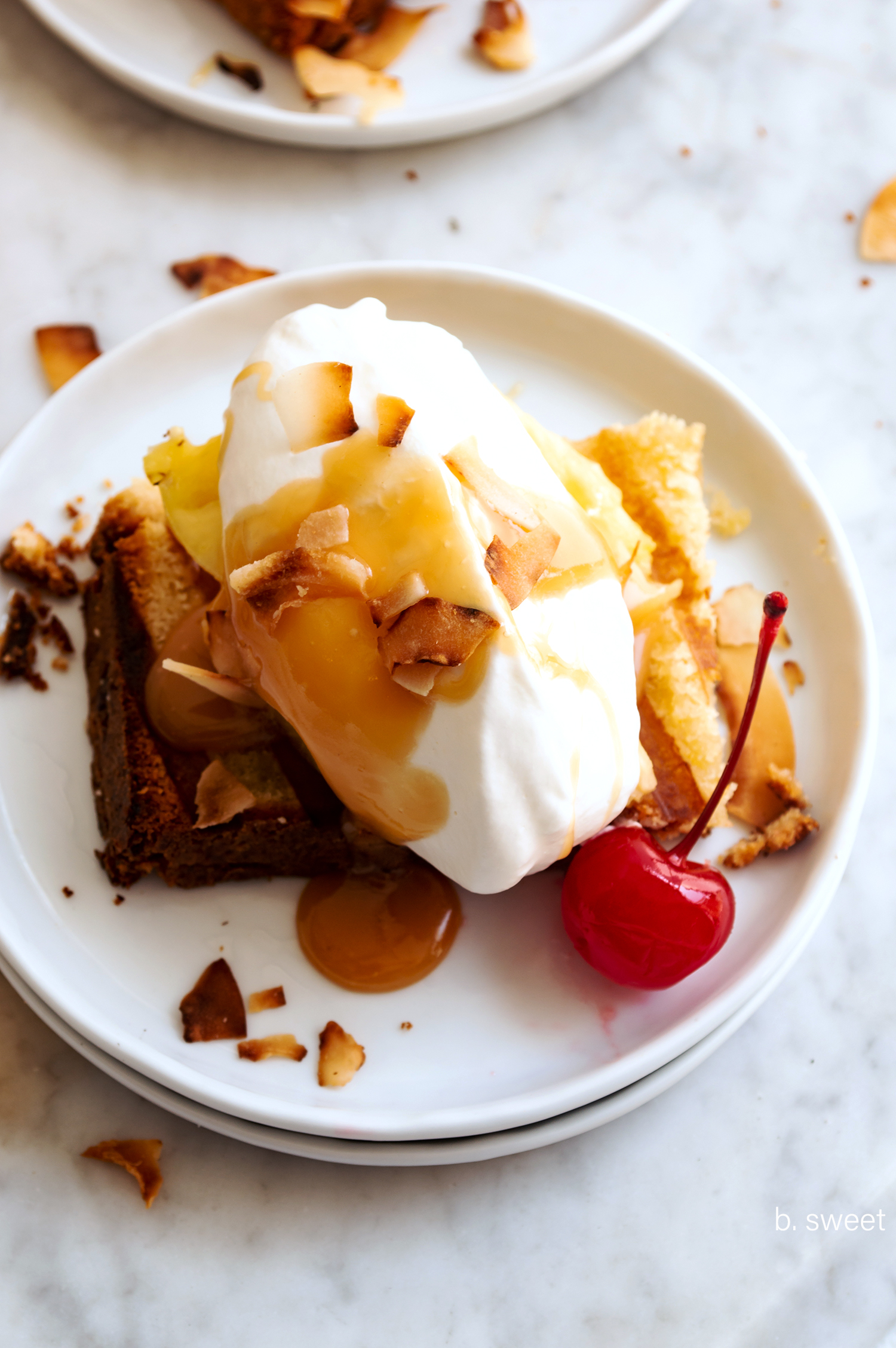 Grilled Pineapple Pound Cake with Fresh Pineapple and Dark Rum Coconut Caramel - b. sweet