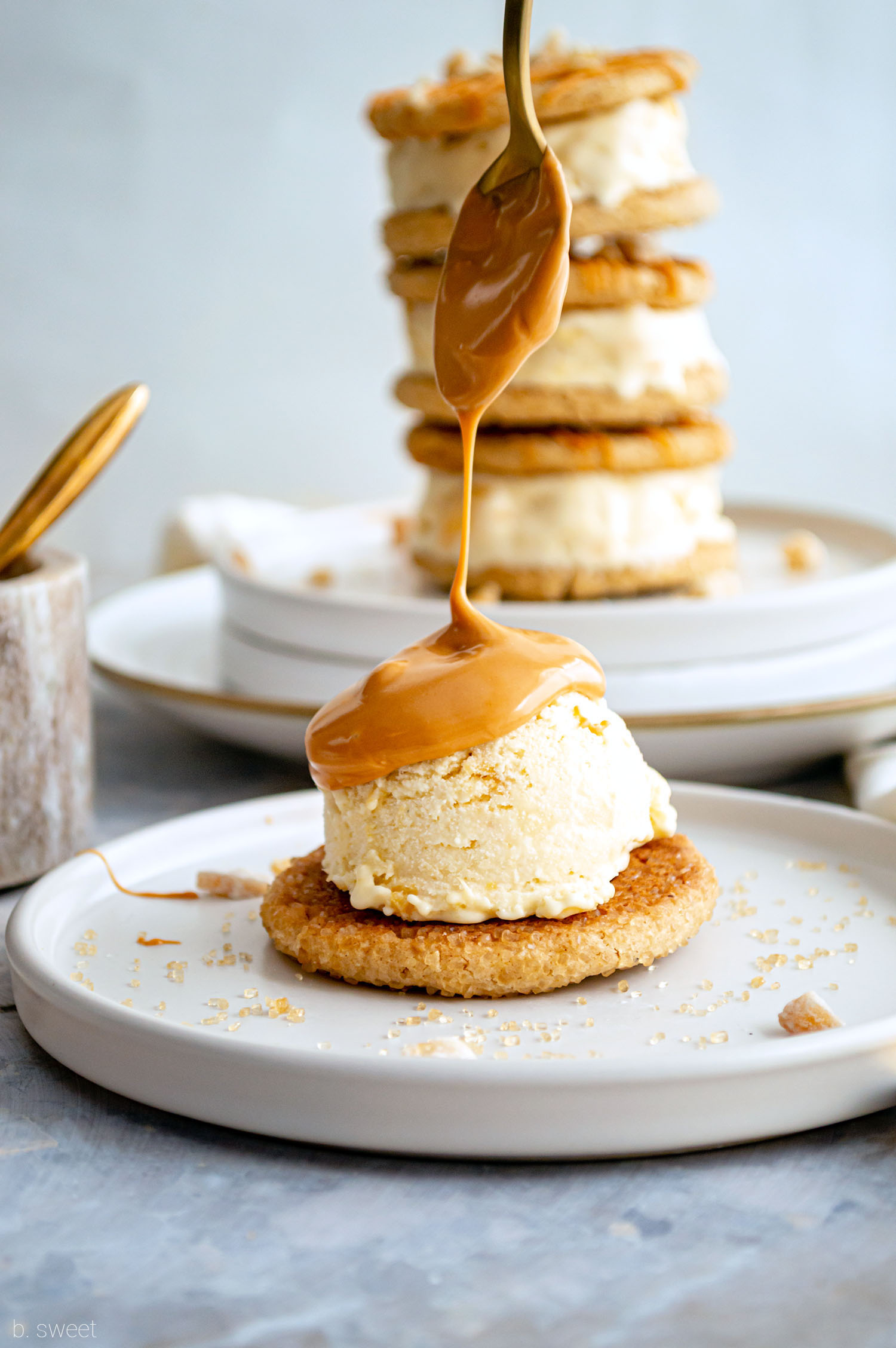 Peach Ice Cream Sandwiches with Ginger Brown Butter Cookies and Butterscotch Magic Shell - b. sweet