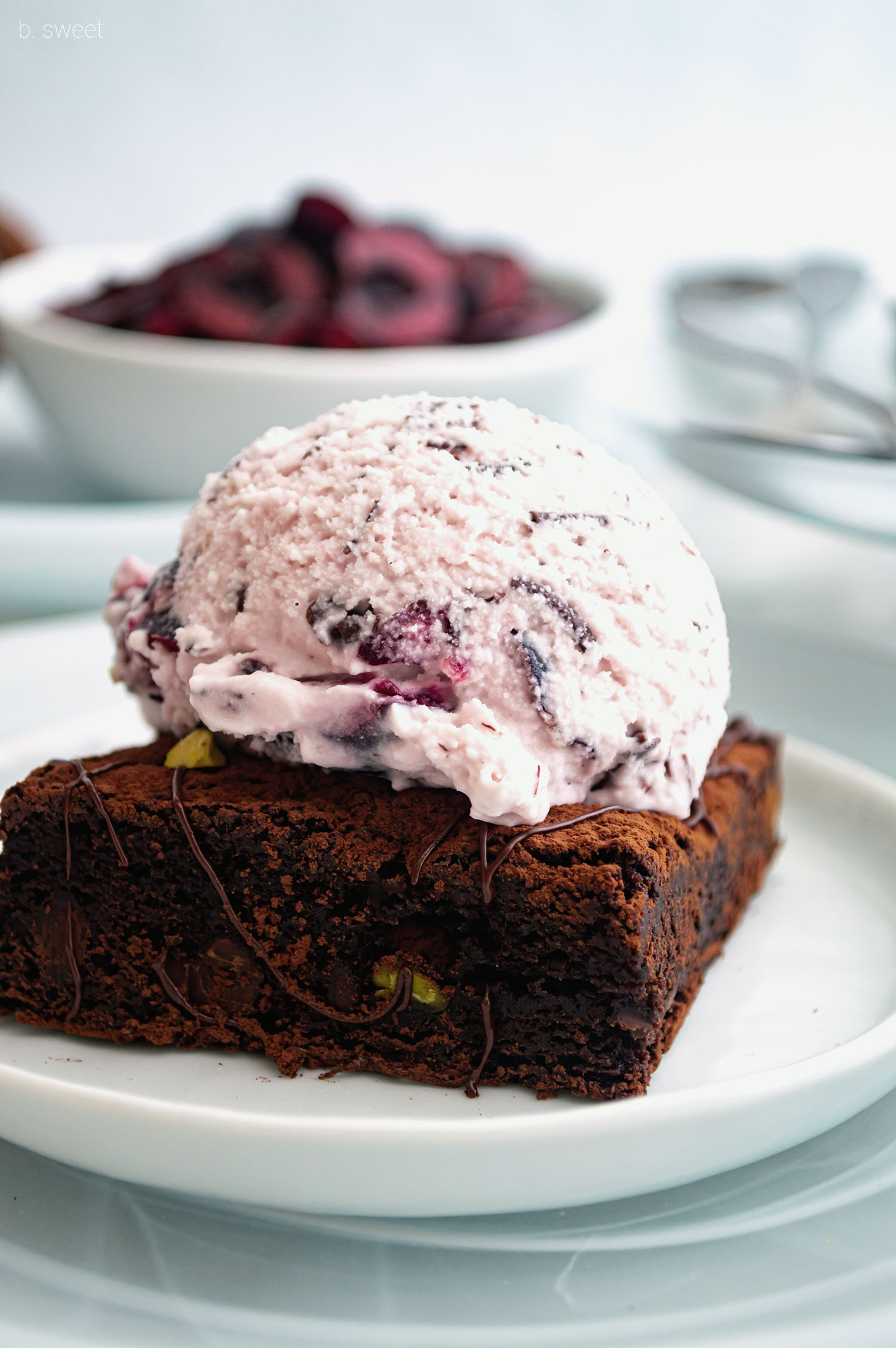Drunken Cherry Dark Chocolate Stracciatella Pistachio Brownie Sundae - b. sweet