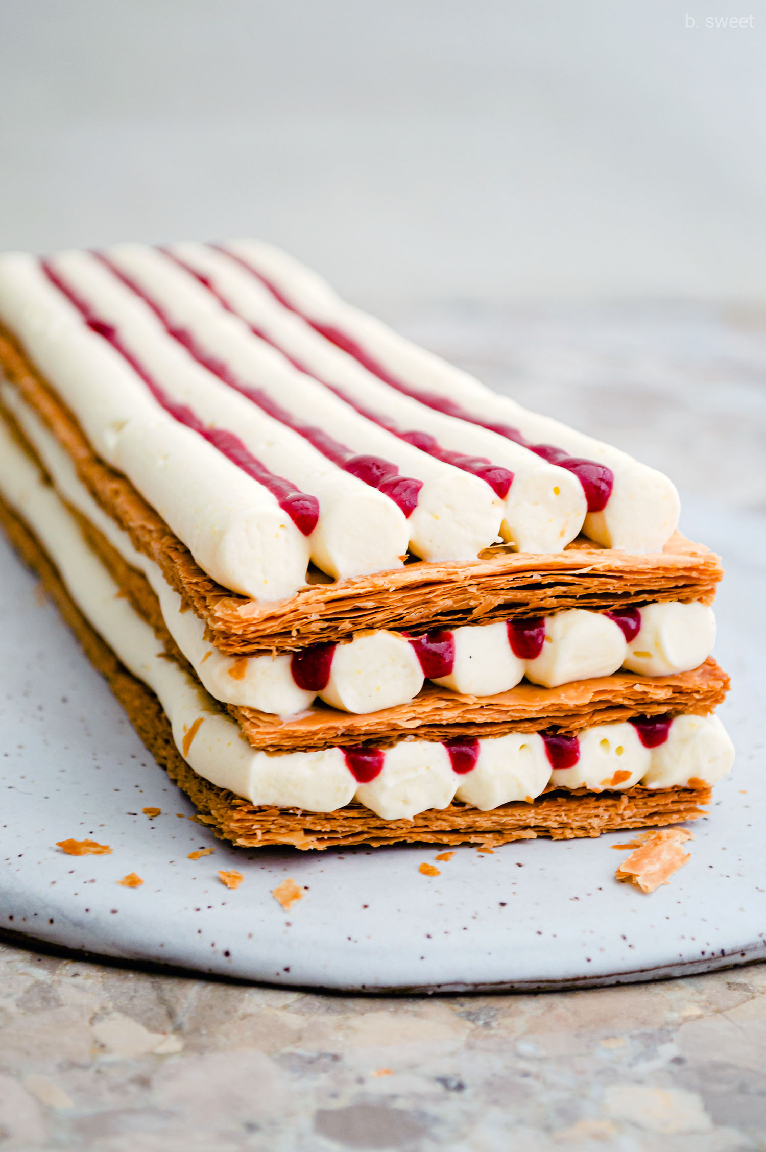 Smoked Vanilla, Bourbon, Blackberry, and Plum Mille-Feuille - b. sweet