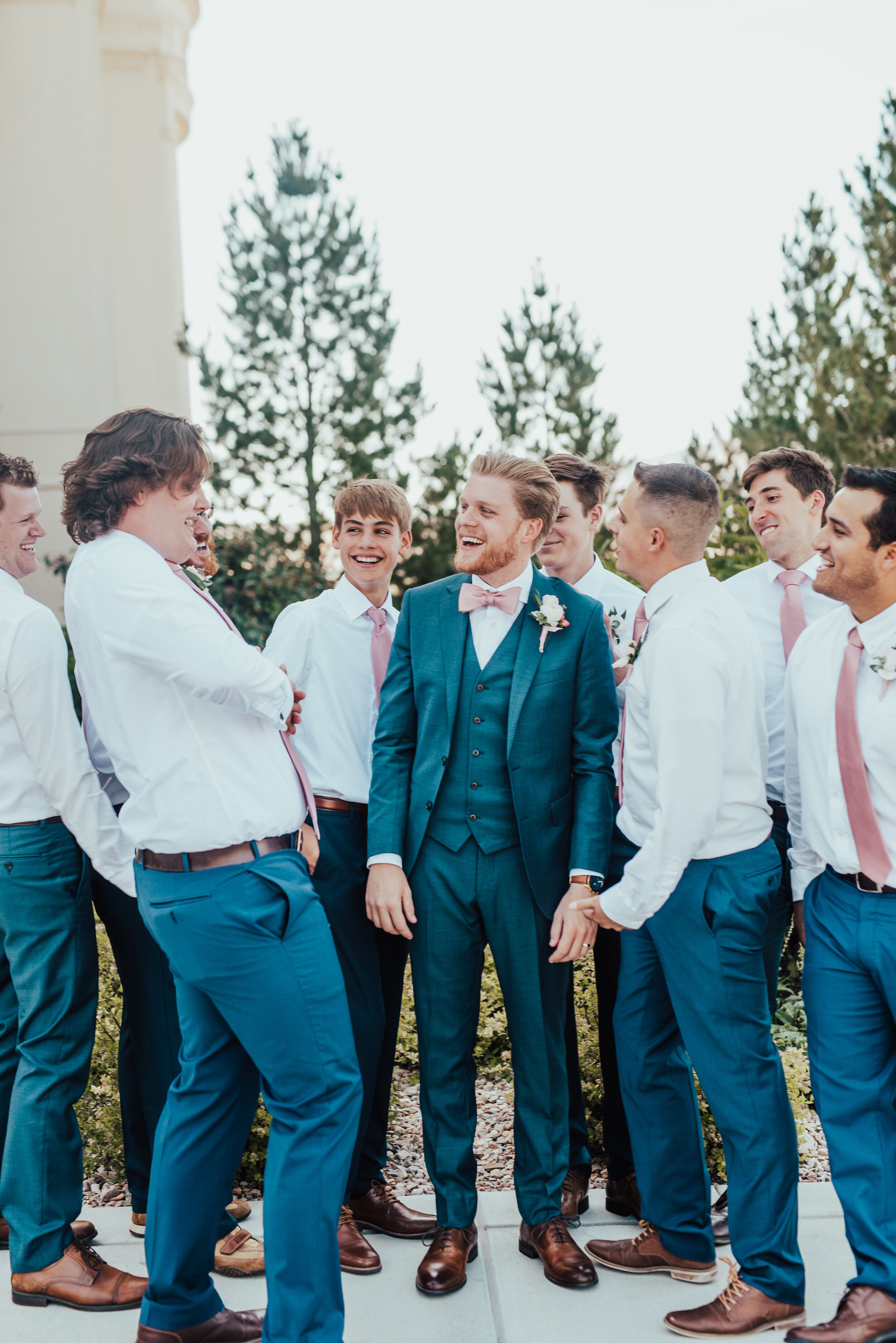 payson utah Payson utah temple wedding photos wedding party photos suit and tie bowtie three piece suits for grooms groomsman photos best man pink tie inspiration pink and blue wedding color inspo hairstyles for men for wedding day brown shoes for wedding best friends happy day groomsmen photos groomsmen attire navy groom suit #utahweddingphotographer #utahphotographer #weddingday #utahvalleyphotographer #ldstemple #groomsmen #groom #bestfriends #bowtie #suitandtie #navysuit