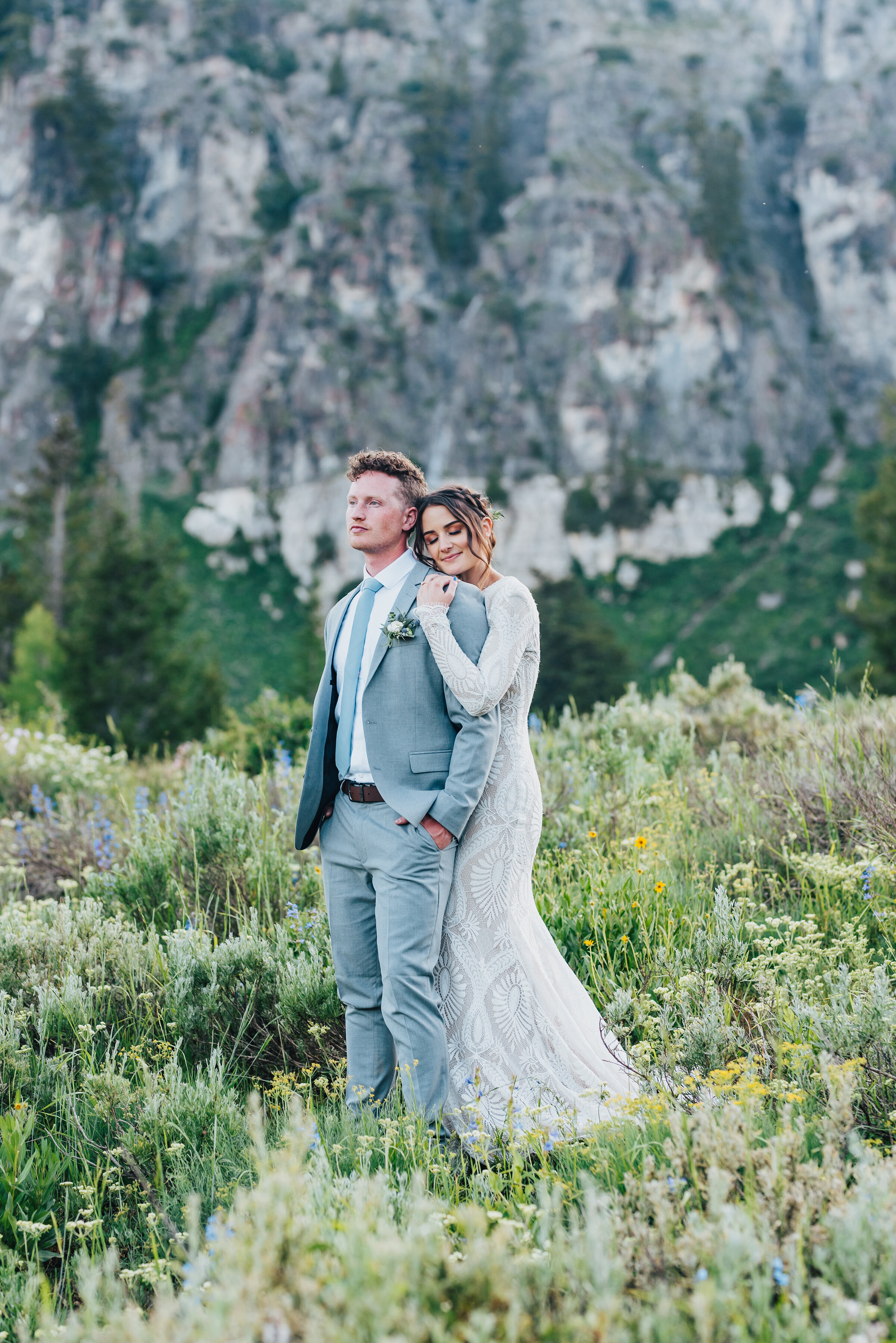 Gorgeous bride and groom surrounded by nature up Logan canyon for their formals. Kristi Alyse photography Logan Utah wedding photographer forest nature dreamy formals Logan canyon Tony Grove scenic bridals Northern Utah photographer Utah brides bride and groom Cache Valley #kristialysephotography #loganutahphotographer #tonygrove #logancanyon #utahweddingphotographer #bridals #formals #wildflowers #northernutah #utahbrides