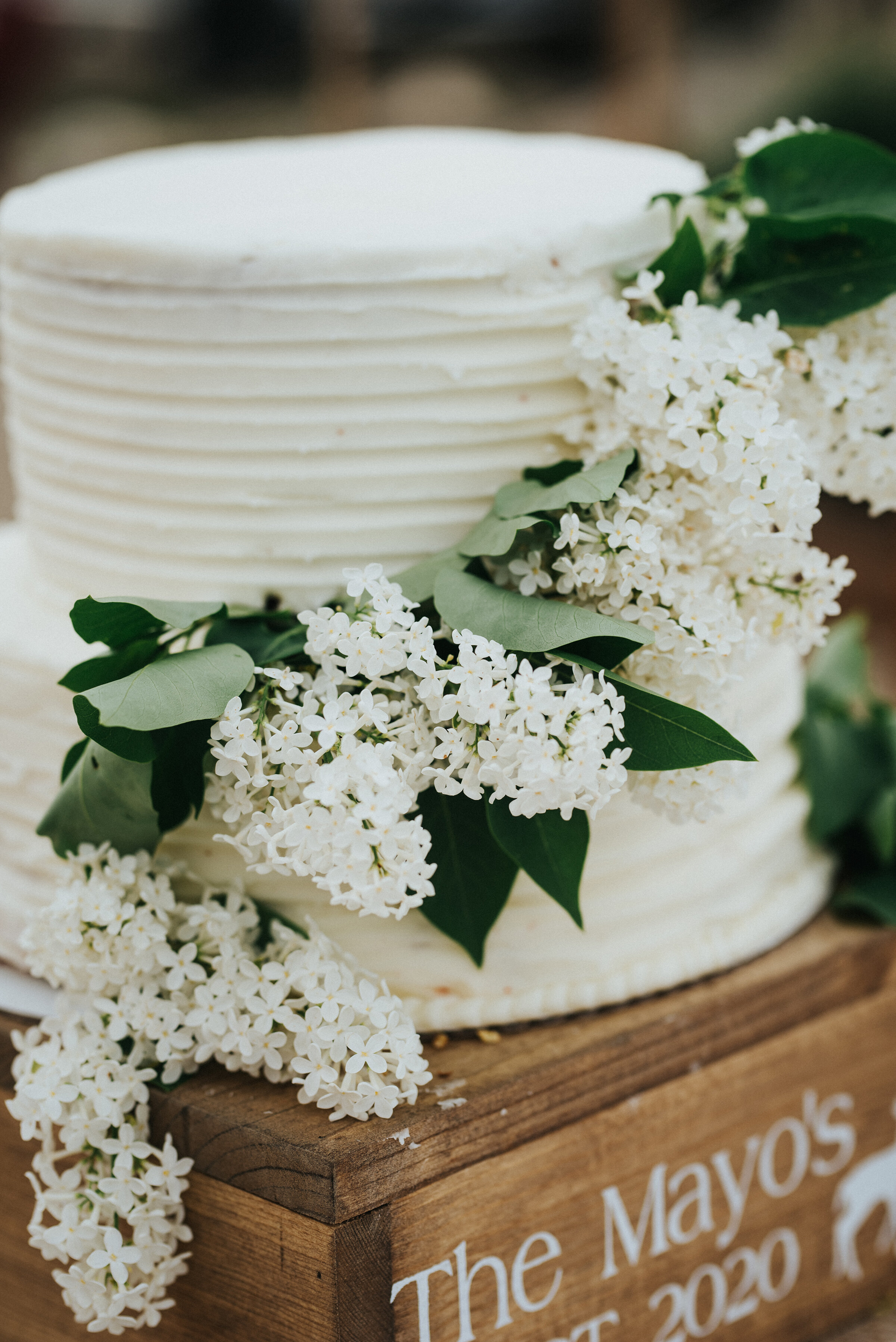Simple and classic western wedding cake prepared for this bride and groom with white frosting and accented with white flowers and greenery. Wedding day photoshoot in Ephraim Utah photography wedding outdoor location western inspired rustic Airbnb photo aesthetic #ephraimutah #utahphotography #weddingdayphotography #gettingmarried #rusticwedding #utahwedding #westernstyle #weddingphotoshoot