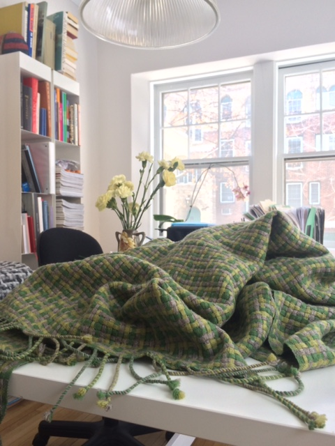 Chaperone throw sample on the worktable in our design studio, November 2017