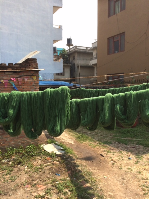 Wool yarn for the Chaperone throws drying in the Kathmandu sun after coming from the dye bath, February 2018