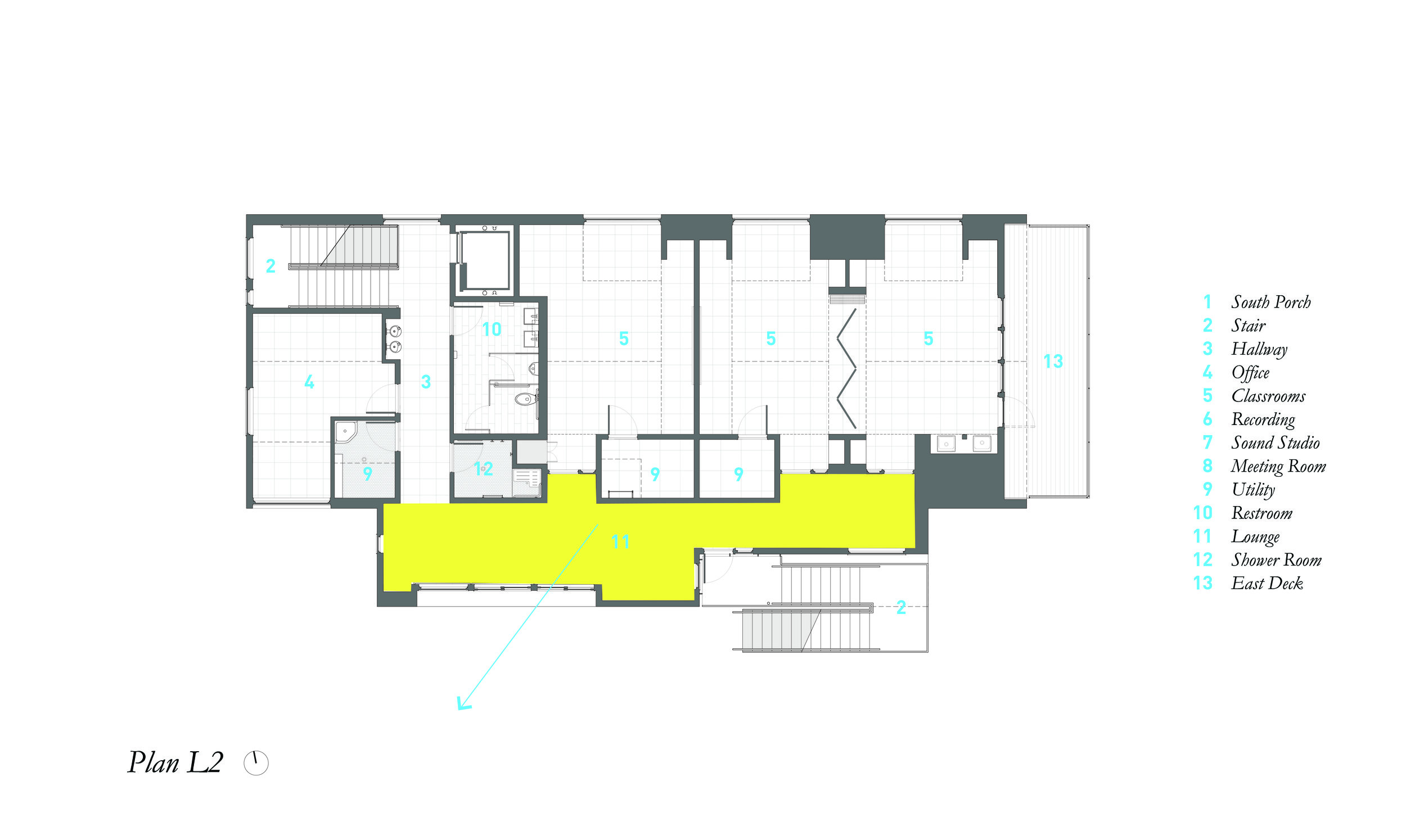 Second Floor Plan showing wide Hallway/Lounge Area