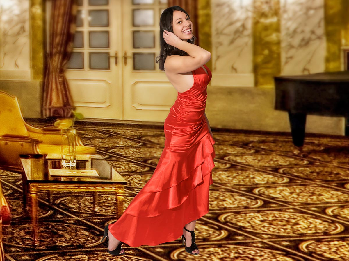 Red ballroom dress