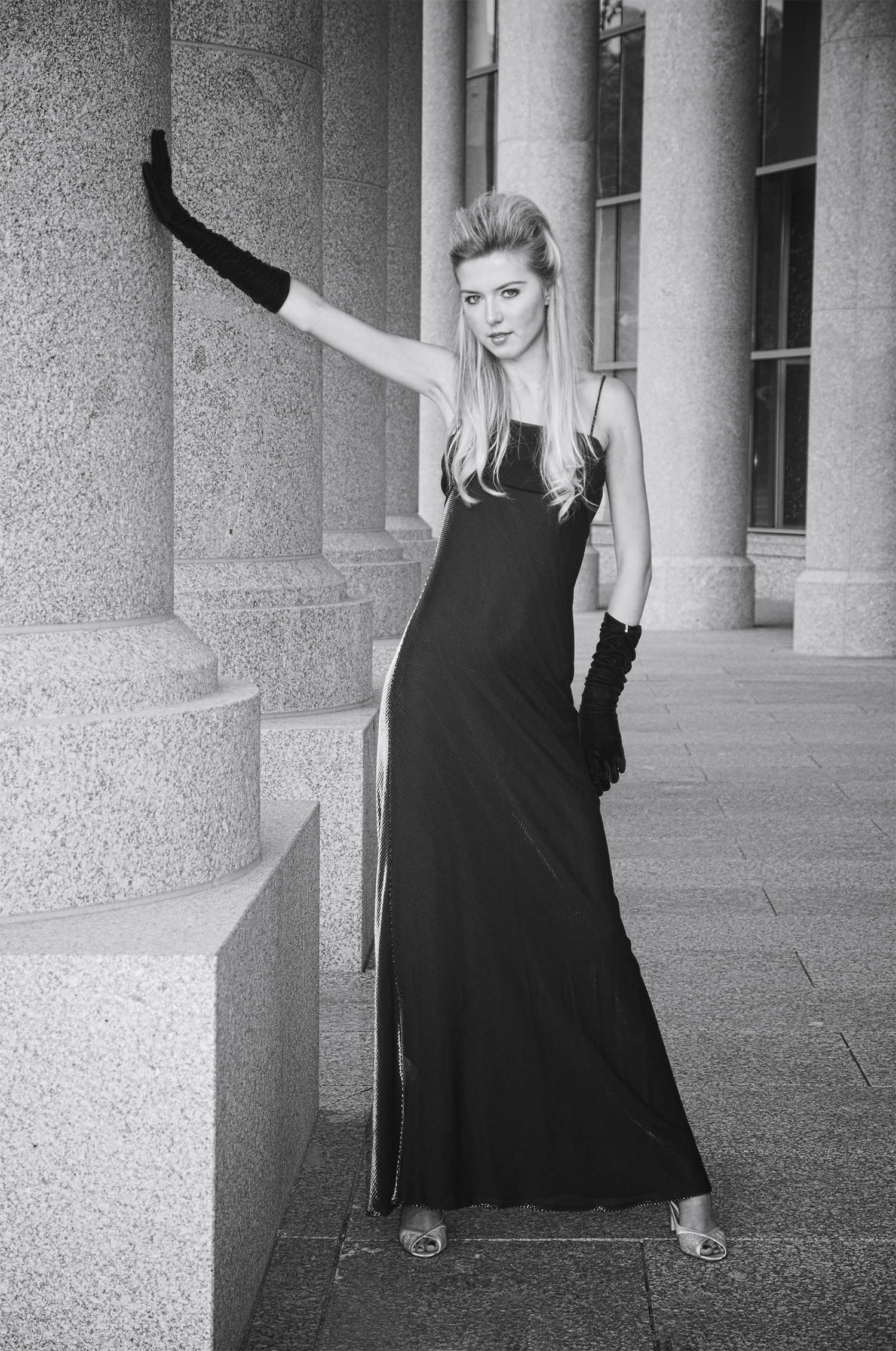 black and white classic fashion portrait of a young model. Downtown Denver, Colorado.
