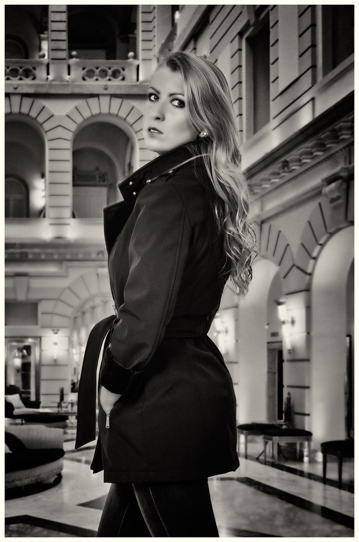 Trench Coat Black and white fashion portrait