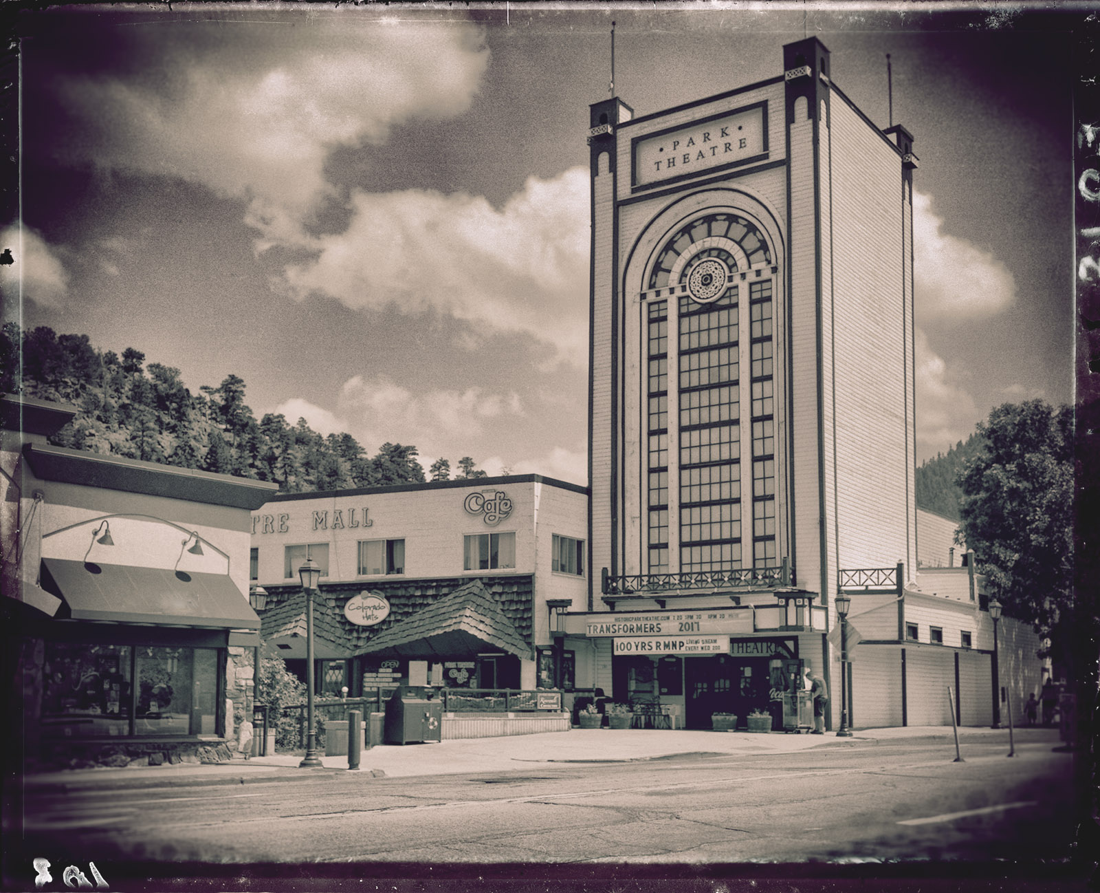 4x5 film, photo of Park Theatre in Estes Park, Colorado