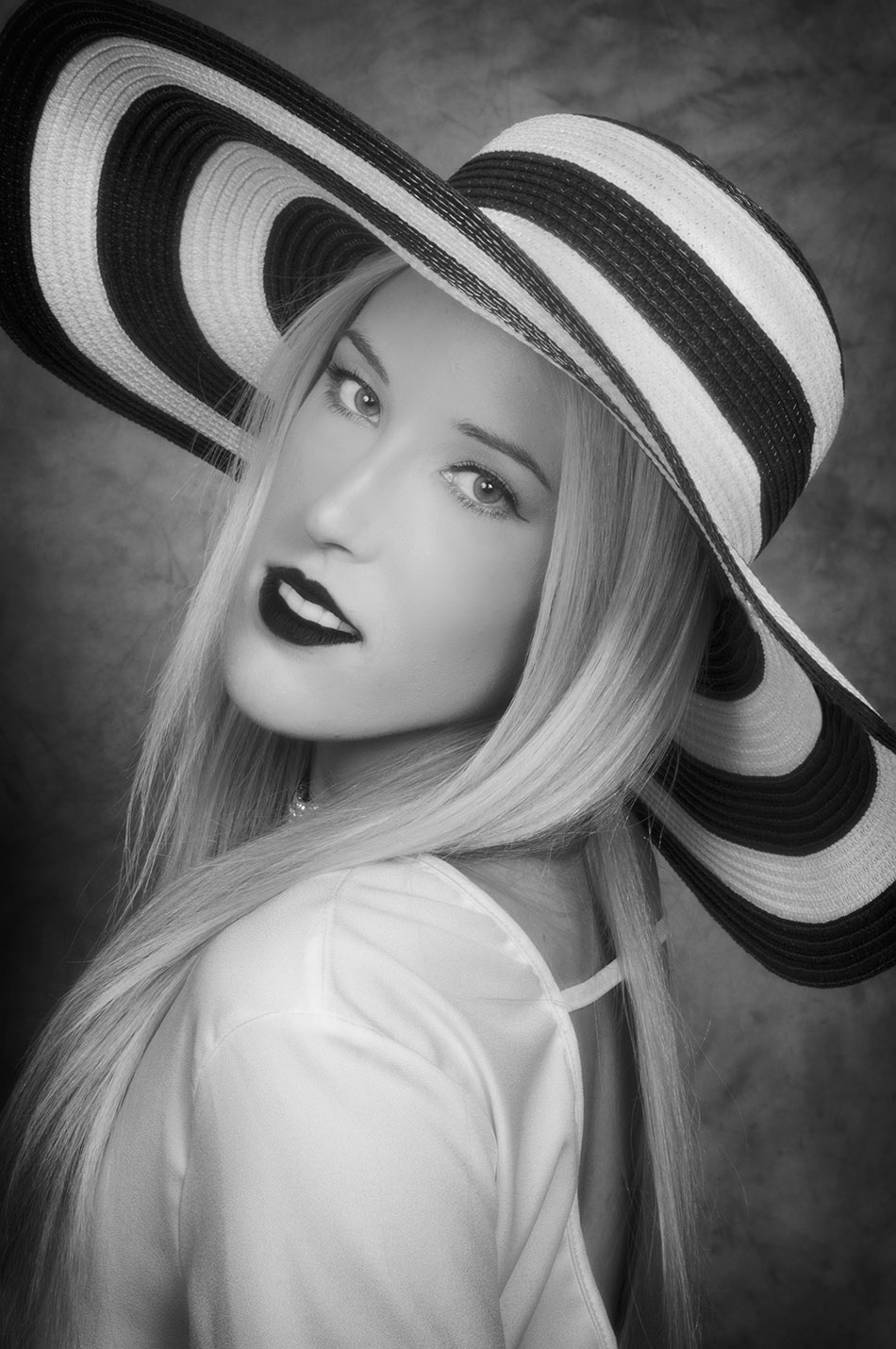 Amy, hat photo with beautiful smile portrait