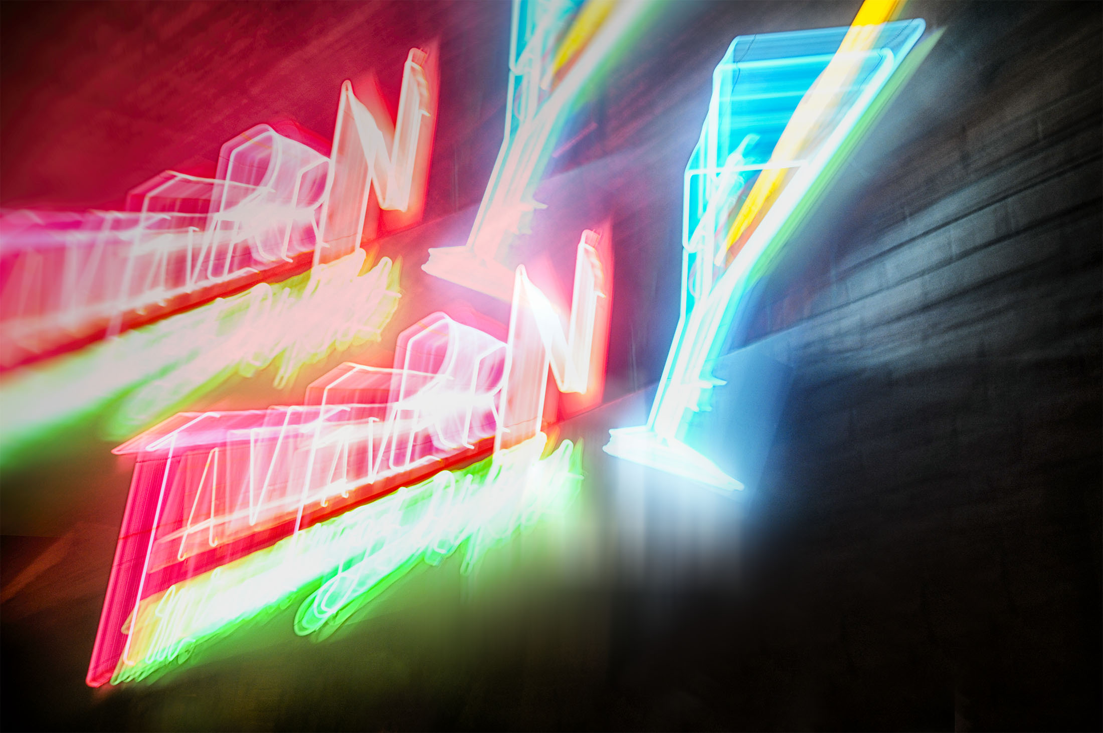 Multiple Double Exposure of Neon Bar Sign in Colorado