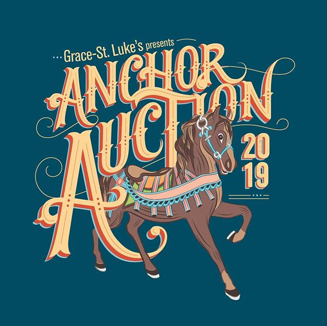 The last few years we've had the privilege of designing the artwork for  the @gslschool Anchor Auction event collateral in support of the school. This year's event was held at the children's museum with a style inspired by Carousel so naturally we had fun with custom hand-lettering and put a horse on it. ⚓️🐴