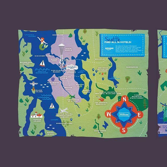 Who doesn't love a treasure map? 🗺  ___________ 7 Custom illustrated maps for Hilton & Amazon's booking partnership program.  ___________ #hemlinetheory #illustration #hiltonhotels #amazontravel #treasuremap #maps #graphicdesign