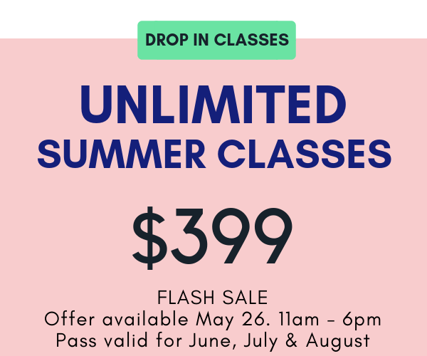 3 months unlimited drop in classes. Offer valid for JUNE, JULY and AUGUST 2019. No refunds, credits or extensions. One per person and non transferable. For drop in classes only. No make up days for holiday closings.