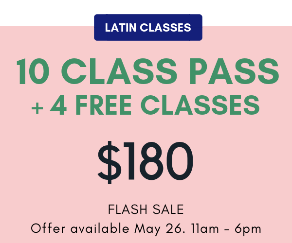 14 latin classes for the price of 10. That's $12.86/class. Pass expires December 1, 2019. No extensions, credits, or refunds. One per person and non-transferable.