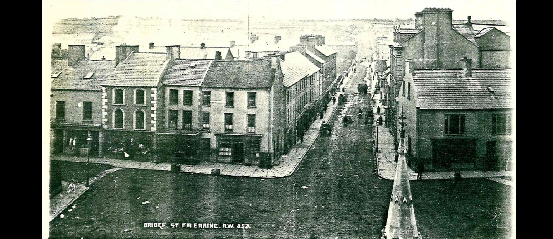 A view down Bridge street Coleraine in the late 1800's. Bishops is located in the left block, second from the right