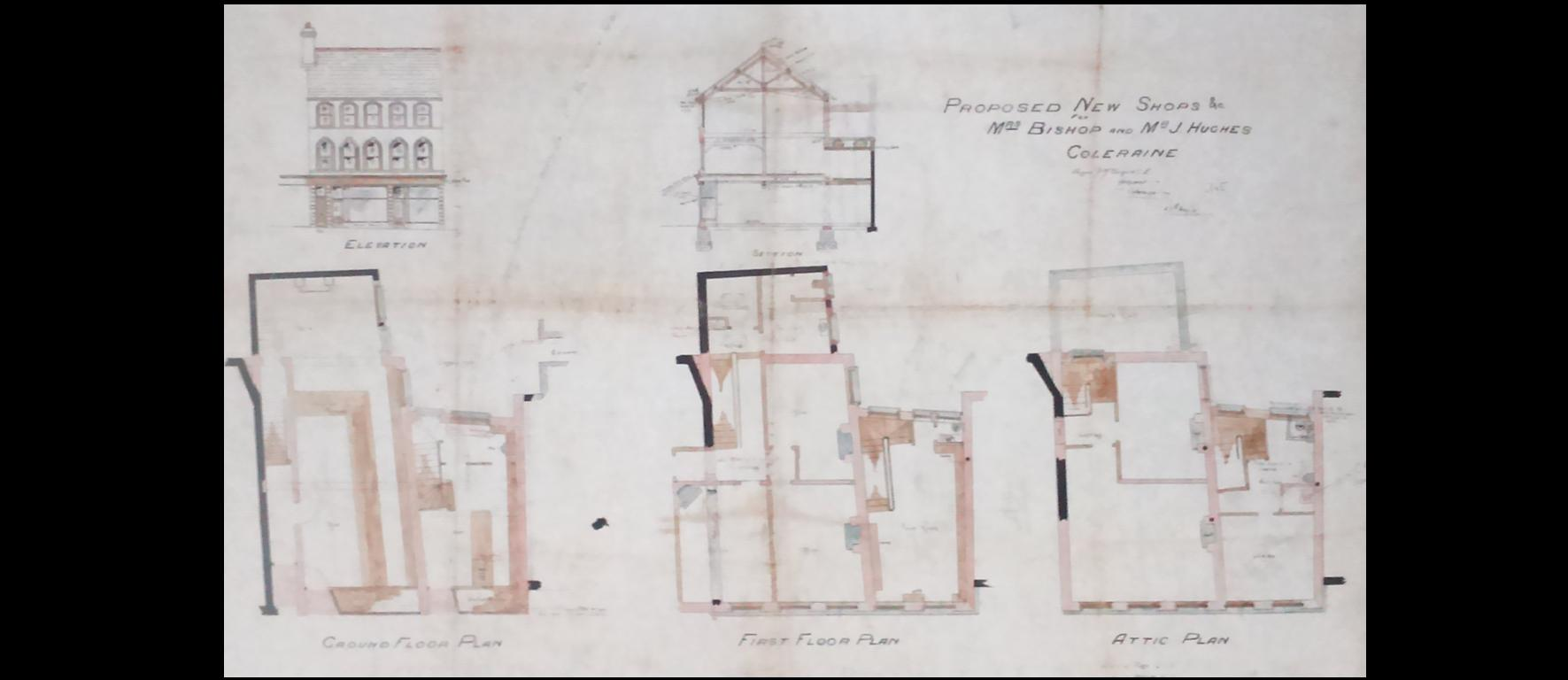 Plans from 1905 for new Premises for Mrs Bishop