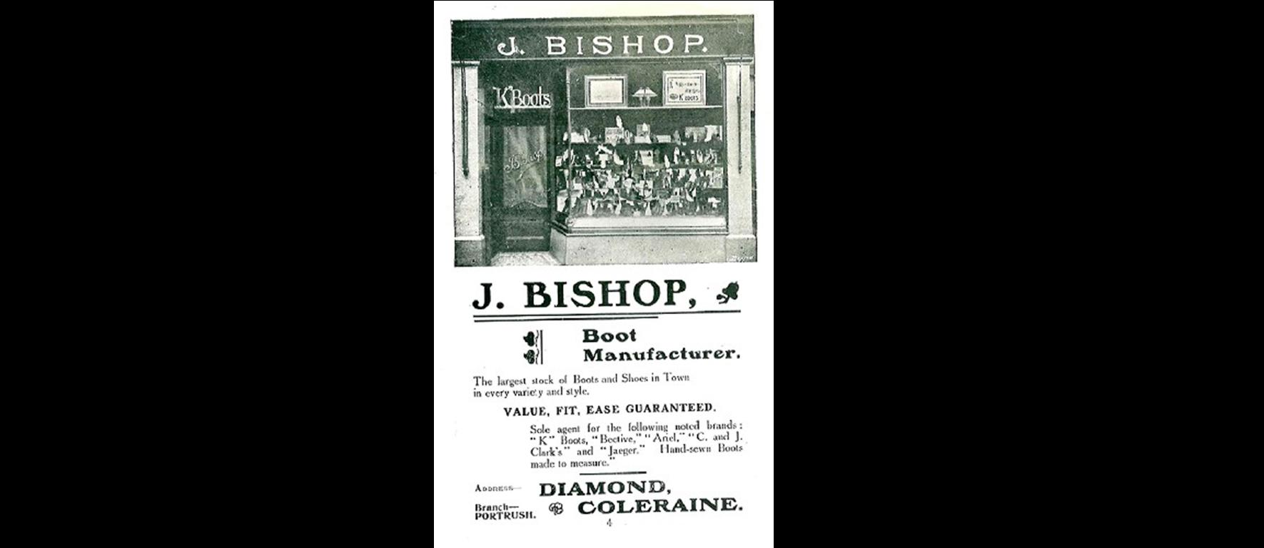 An advert for J. Bishop (James) published in a guide to Coleraine from 1910