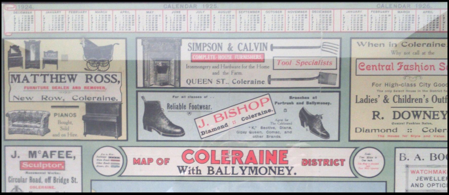 An advert for J. Bishop from 1924  mentioning branches in Coleraine, Portrush and Ballymoney