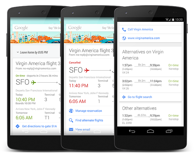 An example from google how a user might get context sensitive information about a flight cancellation
