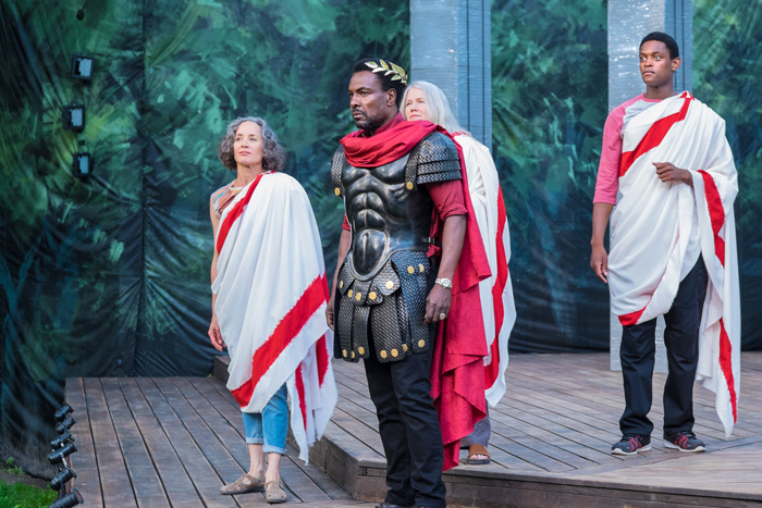 Julius Caesar.   Canadian Stage Shakespeare in High Park 2015. Direction: Estelle Shook. Costume Design: Michelle Tracey. Photo by: Paul Lampert