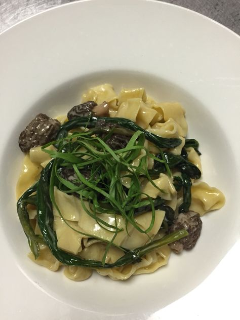Spring in a bowl - an incredible pasta with morels and ramps.