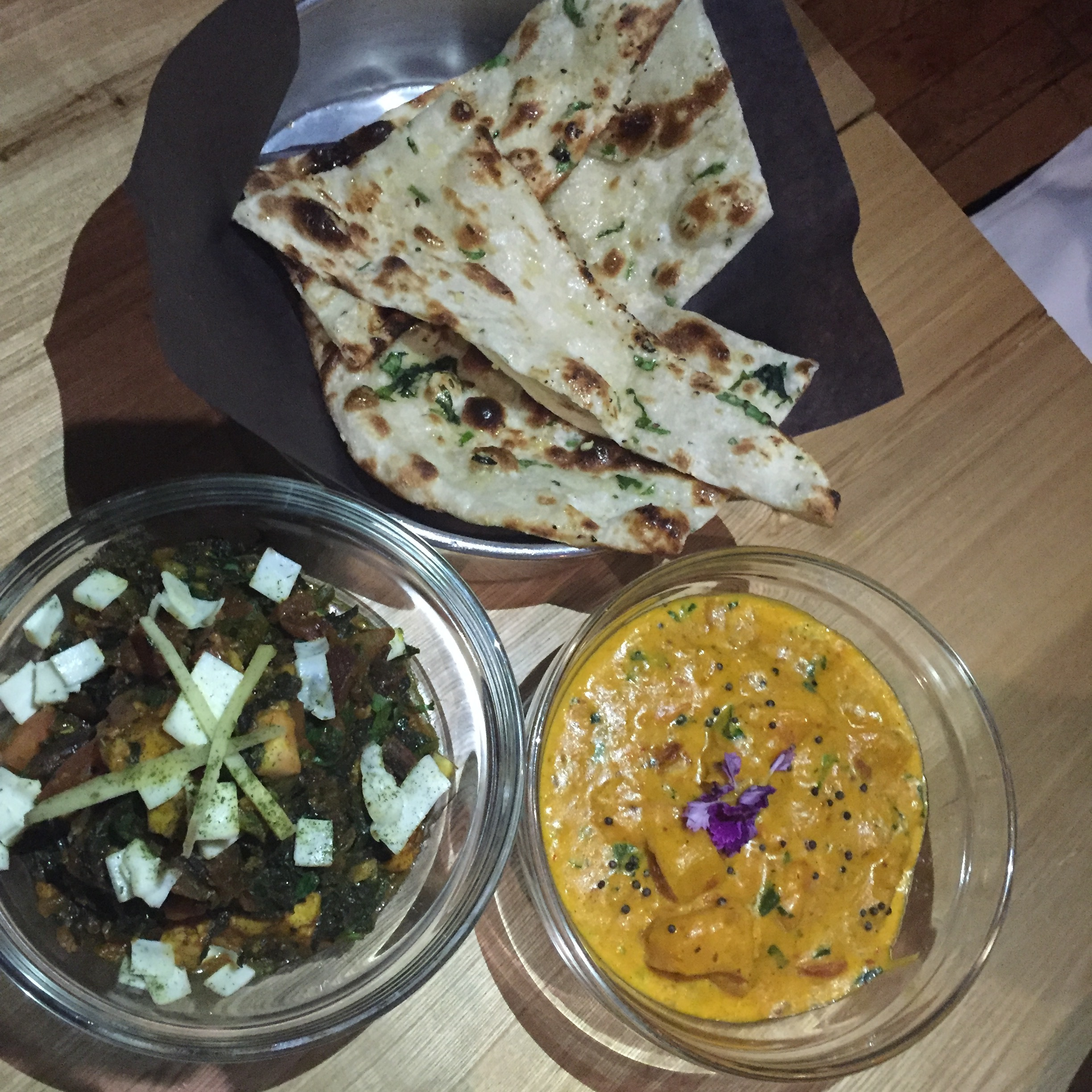 Swiss Chard and Paneer; pan tossed with tomato, ginger and garlic, and Pumpkin Curry; Kashmiri chili, curry leaves and tomato.