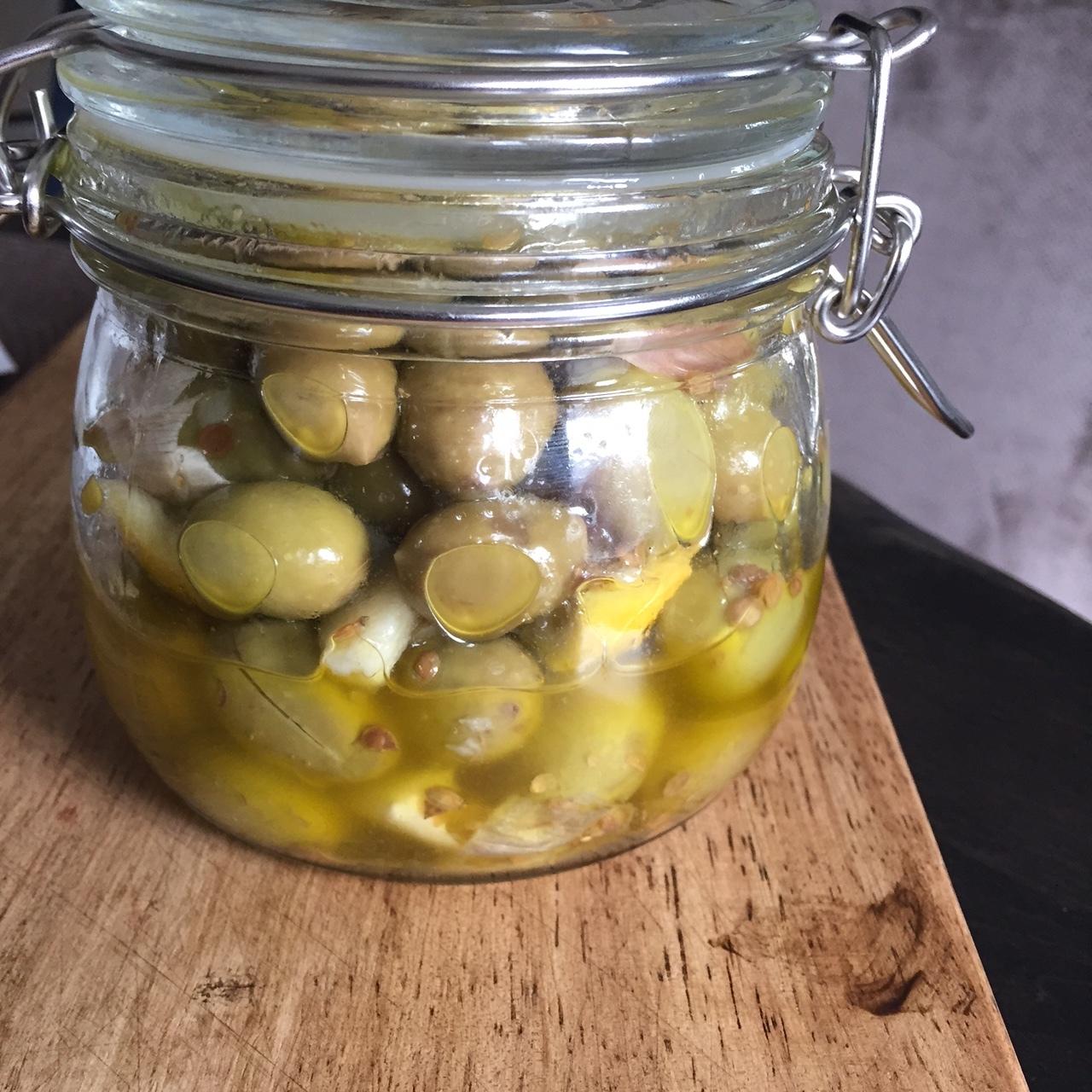 Irene's addictive lemon and garlic marinated olives