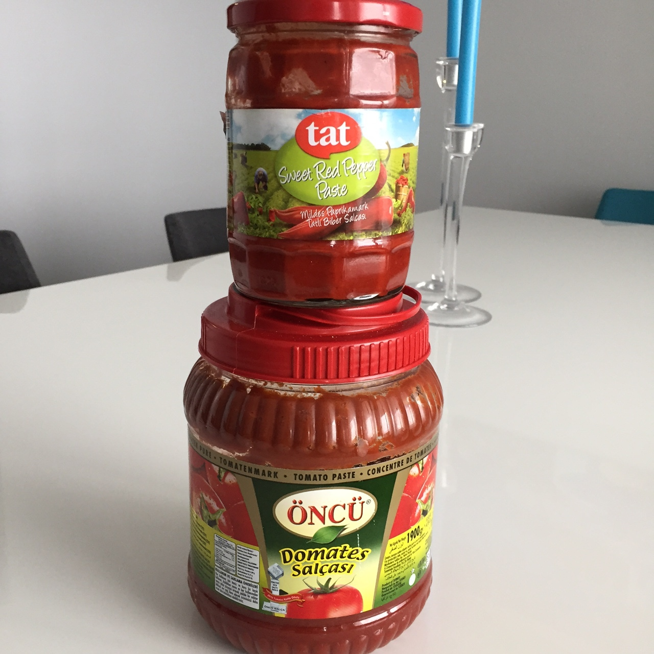 Sweet red pepper paste and tomato paste.