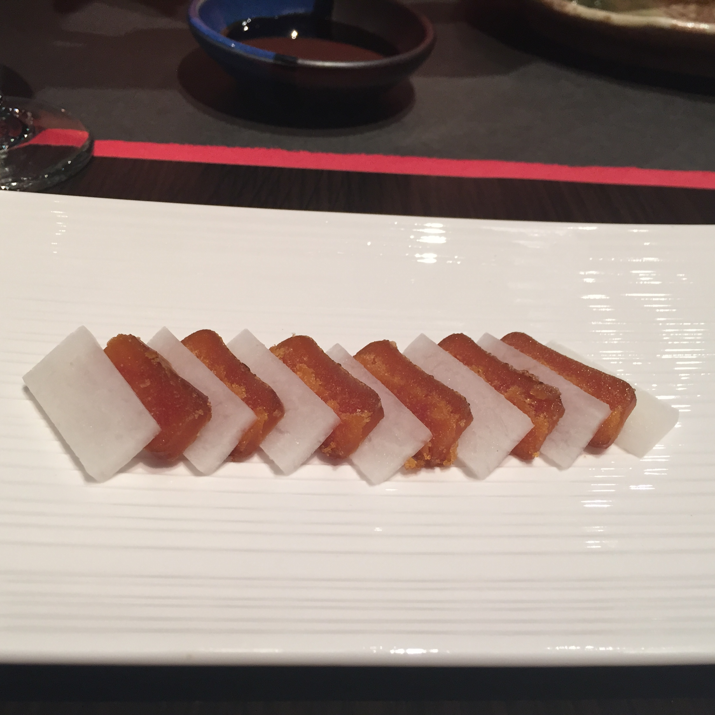 Karasumi pressed pickled striped mullet eggs and daikon. This is very rare to find outside of Japan.