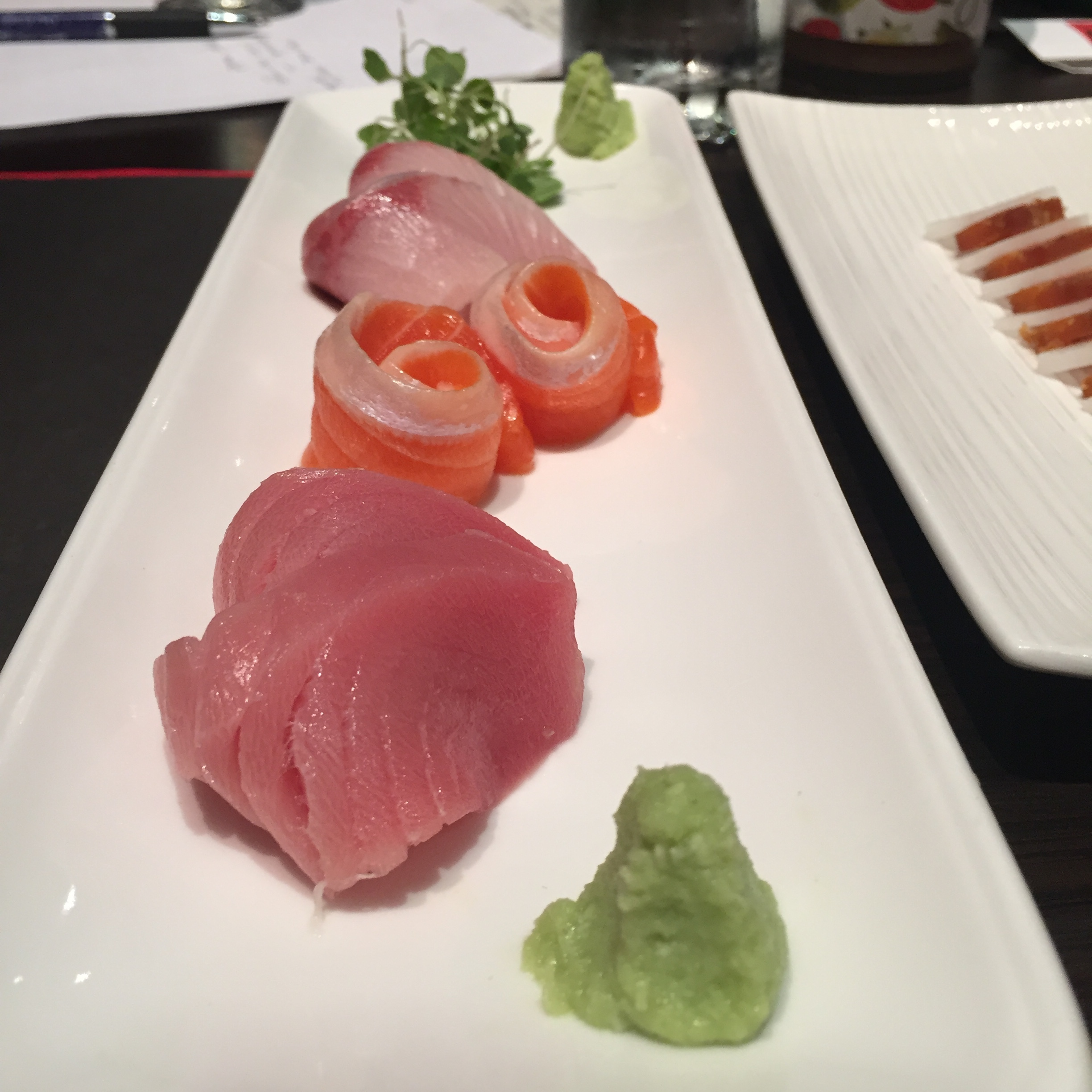 Stunning Otoro in front from Japan, Ocean Trout from Norway and Yellow Tail from Japan. Please note that the soy served at Nami is made in house from bonito, kelp, natural soy and Mirin.