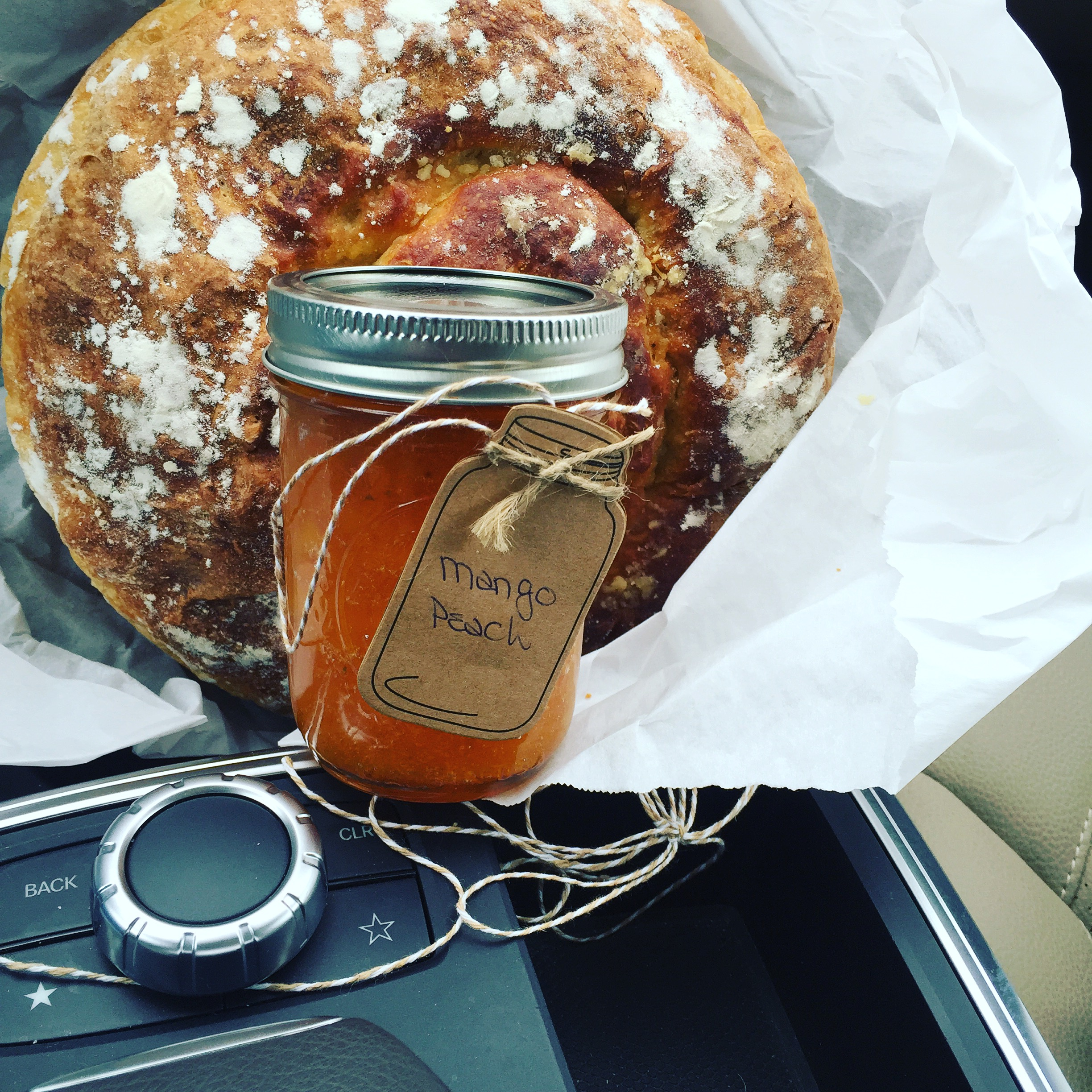 Homemade sour dough and a jar of jam for home - Lucky me!