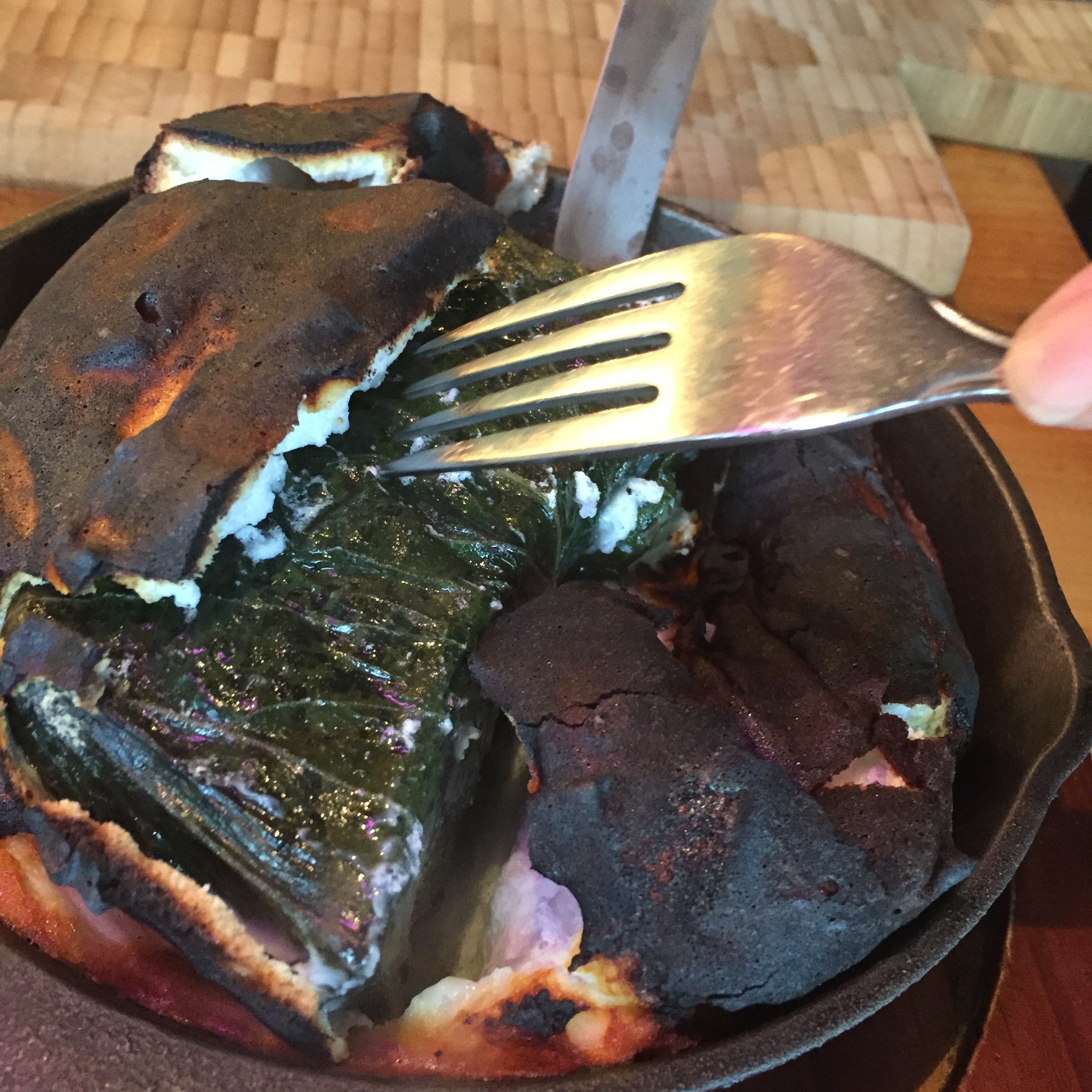 HBT Bossam; Pork belly in perilla leaves flamed in a salt.