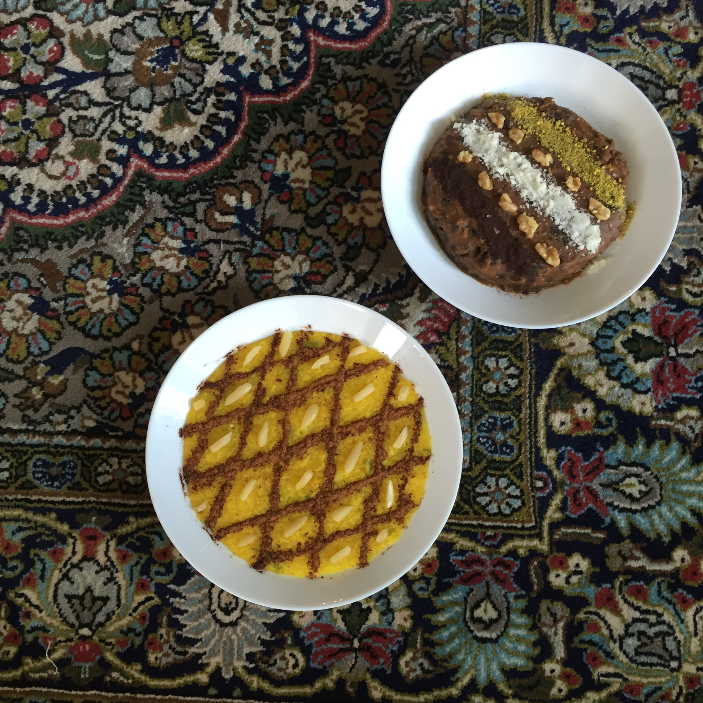 Top right ; Ranginak, a date and walnut pudding Bottom Sholehzard, saffron pudding. Both delicious desserts.