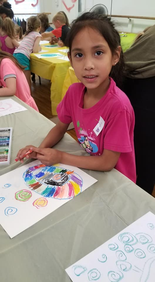 2019 Campadoodle campers working on art projects.