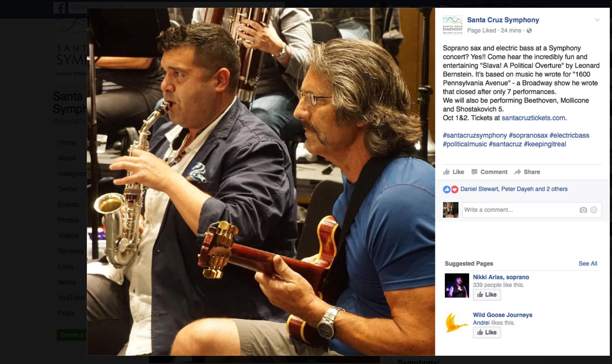 Santa Cruz Symphony, September 30, 2016, rehearsing Bernstein's SLAVA. And no; that's NOT an electric bass! It's a Gibson 335.