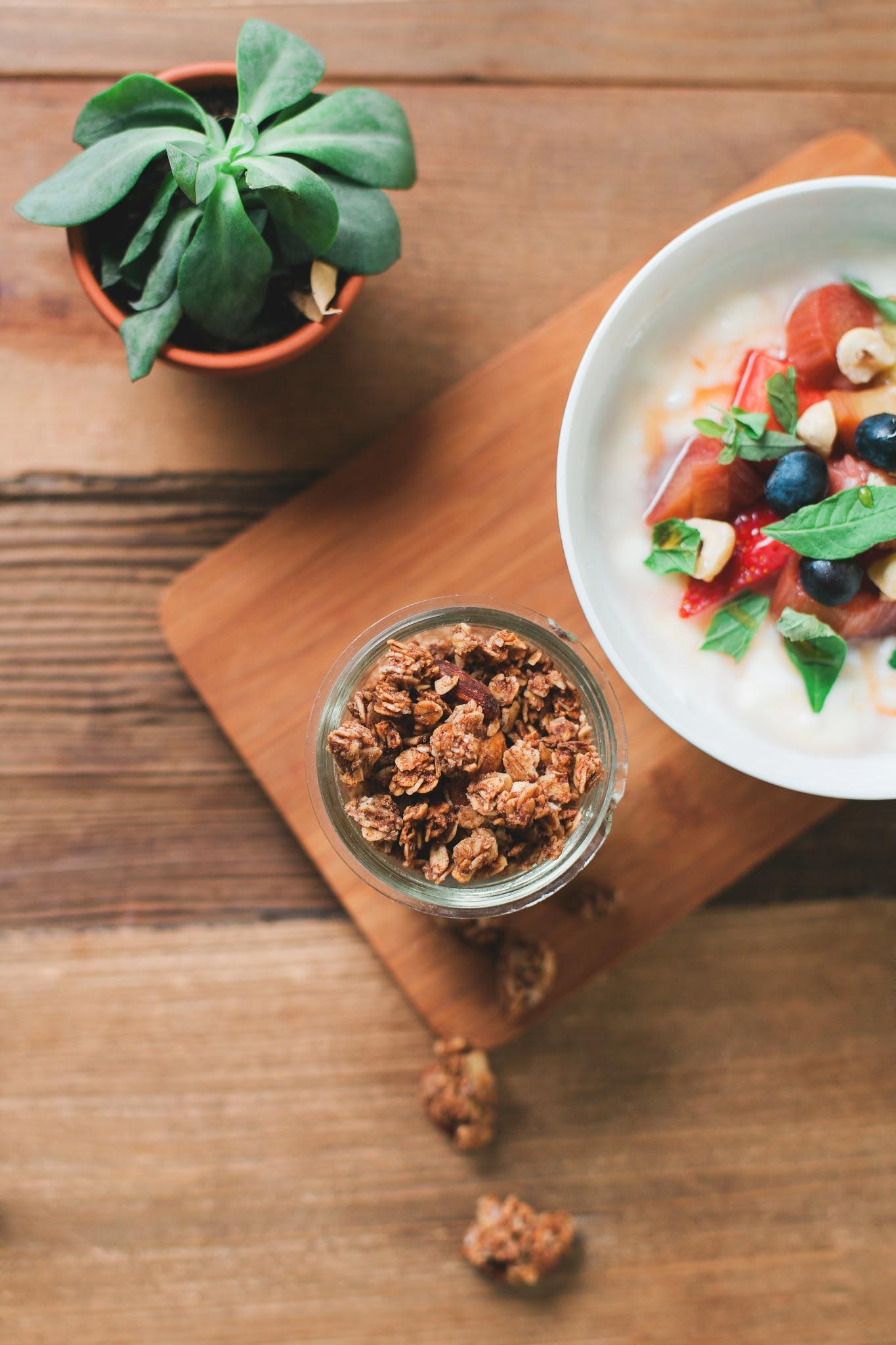Granola with yogurt, basil,honey roasted rhubarb and strawberries...