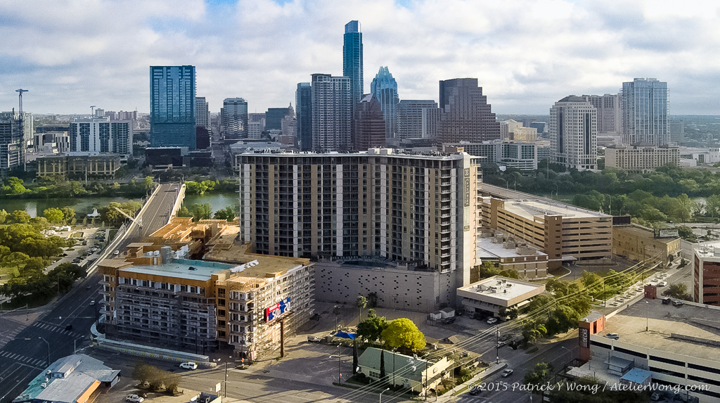 Aerial of The Catherine with the downtown Austin skyline