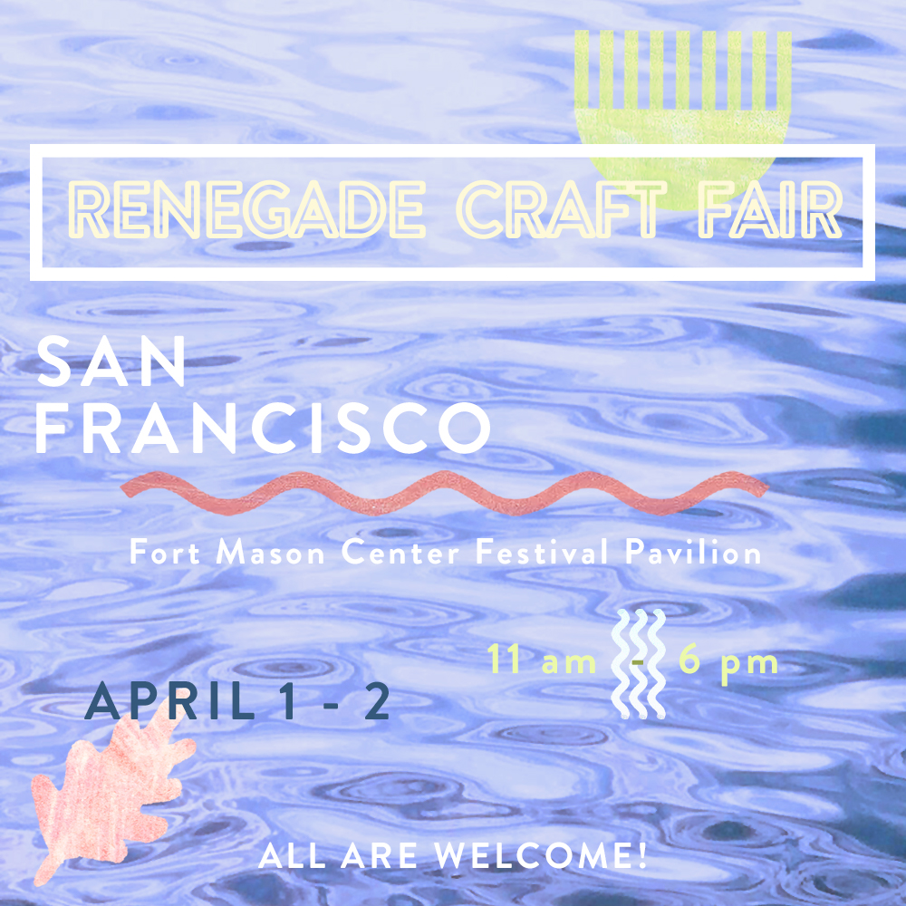 Jenny Irene goods will be on sale this weekend at Renegade Craft Fair at San Francisco's Fort Mason Pavilion.