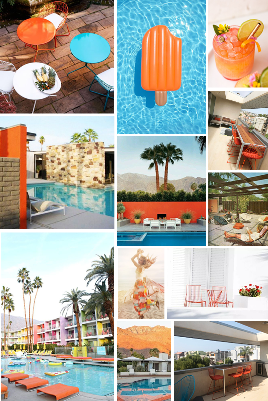 Sources:  Metal Tables ,  Popsicle Pool Float ,  Cocktail ,  Palm Springs House 1 ,  Palm Springs House 2 ,  Palm Springs House 3 ,  Midcentury Modern Patio ,  Fashion ,  Orange Metal Chairs ,  The Saguaro Palm Springs ,  Outdoor Patio