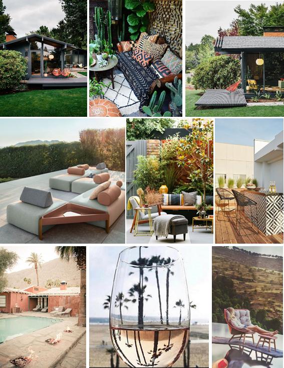 SOURCES:  Midcentury Patio ,  Bohemian Patio ,  Dedon Outdoor Furniture ,  Garden Patio ,  Black and White Bar ,  Palm Springs Desert ,  Wine Glass