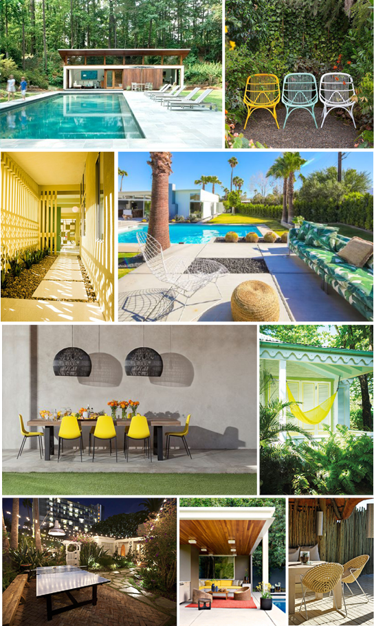 SOURCES:  Pool Designs ,  Patio Chairs ,  Mid-Century Entry ,  Mid-Century Pool ,  Hammock ,  Mid-Century Patio ,  Yellow Patio Chairs ,  Bungalow