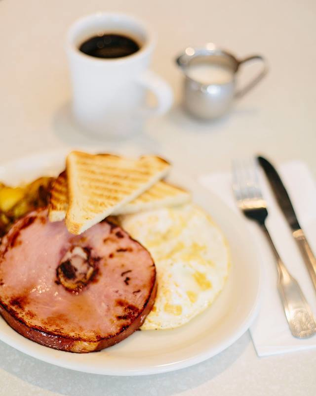 BREAKFAST IS SERVED... COUNTRY HAM STEAK & EGGS  Choice of home fries or hash browns; Choice of toast, baguette, English muffin or biscuit. #Farmer_Boy_Diner #BreakfastisServed #FarmerBoyMenu #SantaBarbaraRestaurant #Since1958 #Breakfast #GetInMyBelly