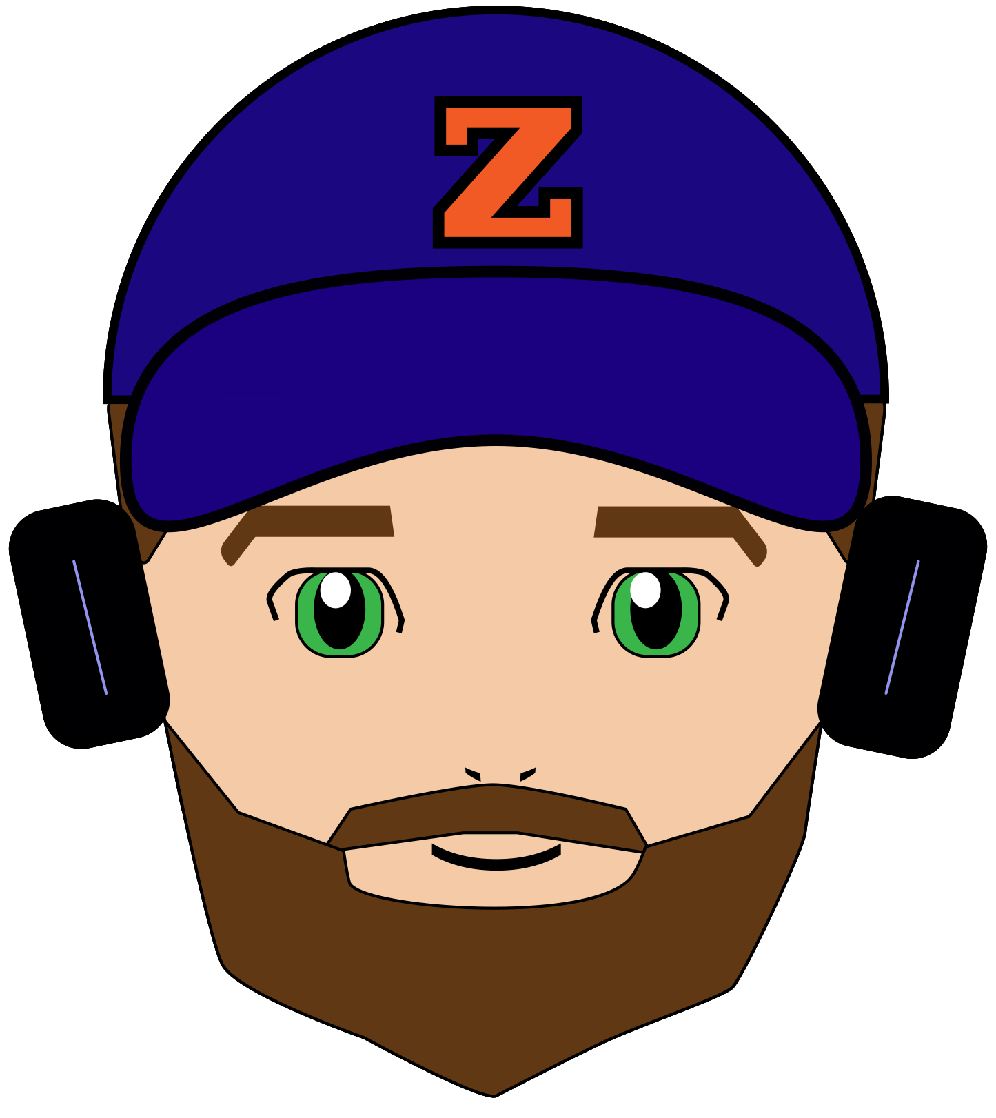 Me represented in a somewhat Anime style.  Headphones and Bears Beanie Cap included.
